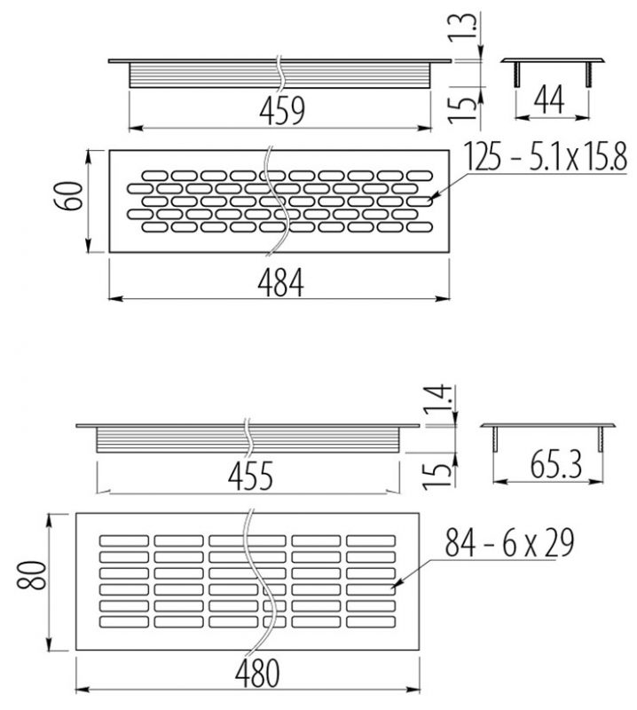 KK W 800 0 rys 718x800 - Решетка вентиляционная GTV 480х80 мм белая