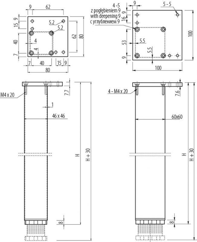 NM 60R710 05 652x800 - Опора для стола GTV квадратная 710х60х60мм регулируемая алюминиевая