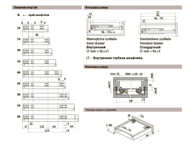 Направляющие GTV Modern Slide 550 мм полного выдвижения с доводчиком