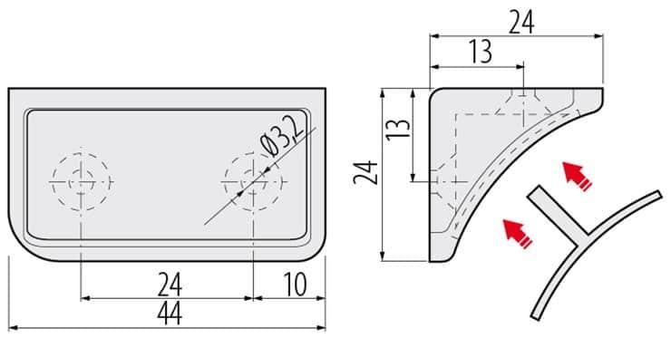 PM NAR1004 695 2 - Уголок двойной GTV 1004, светло-коричневый (725)