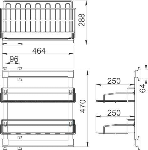 Выдвижная двухъярусная полка для обуви GTV 290x460x520