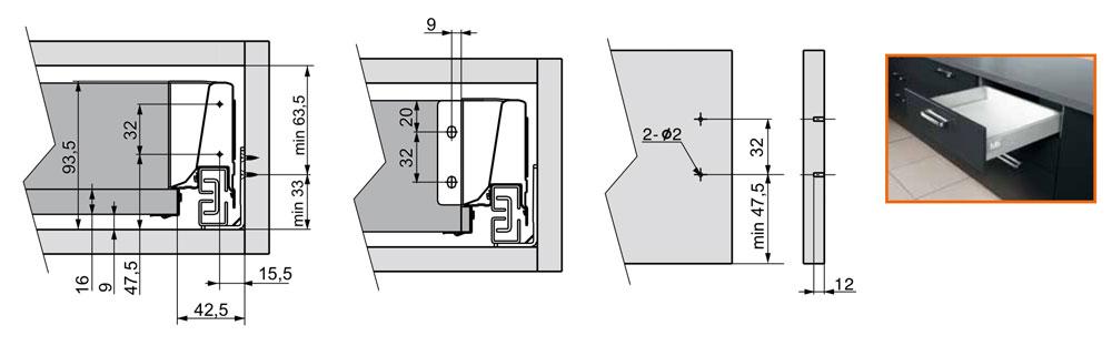 Тандембокс GTV Modernbox низкий белый 400 мм