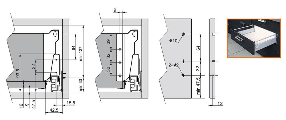 gtv modernbox inner sredniy - Тандембокс GTV Modernbox средний серый 400 мм