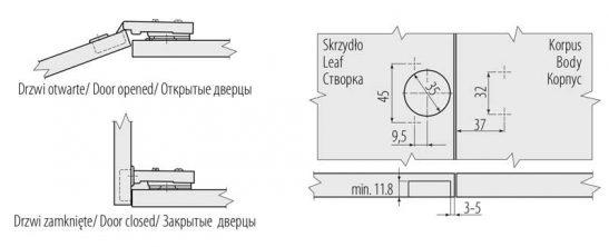 ZM CNHC09BR2 2 1 547x222 - Петля мебельная GTV Престиж накладная 3D с доводчиком ZM-CNHC09BR2