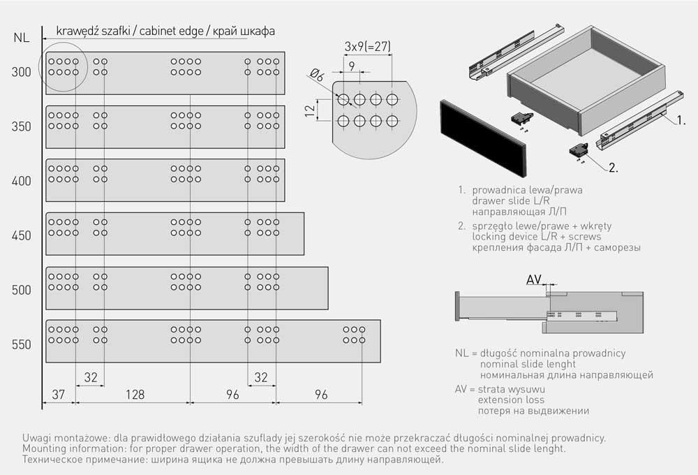 Тандемы полного выдвижения GTV 3D Modern slide 300 мм, под 18 мм