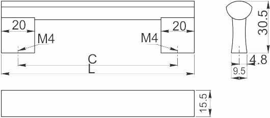 Ручка мебельная GTV UA B0-311, 224 мм Черный матовый