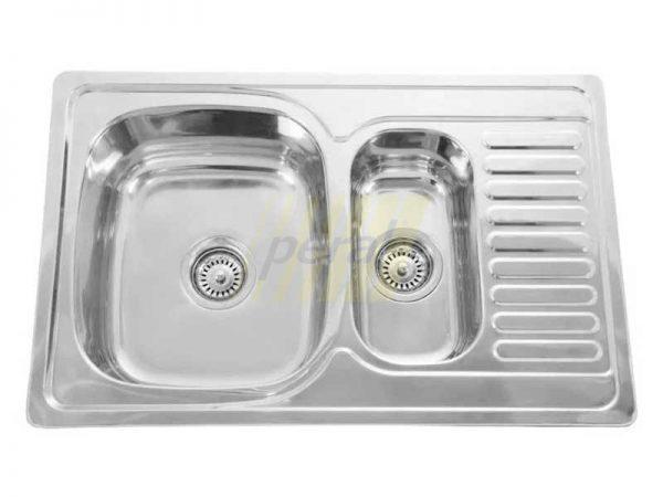 Мойка кухонная Intra прямоугольная с большой площадкой и с отверстием для овощей 800х480 мм (7850D) микродекор