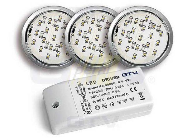 Комплект из 3-х светодиодных светильников GTV LUGO 3*1,8W, с трансформатором, алюминий