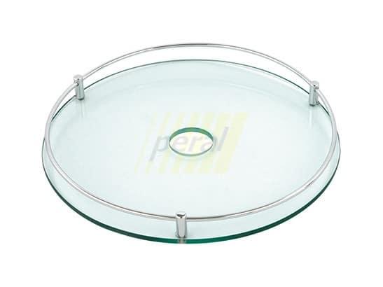 Полка на трубу стеклянная d=350 мм с релингом Rejs