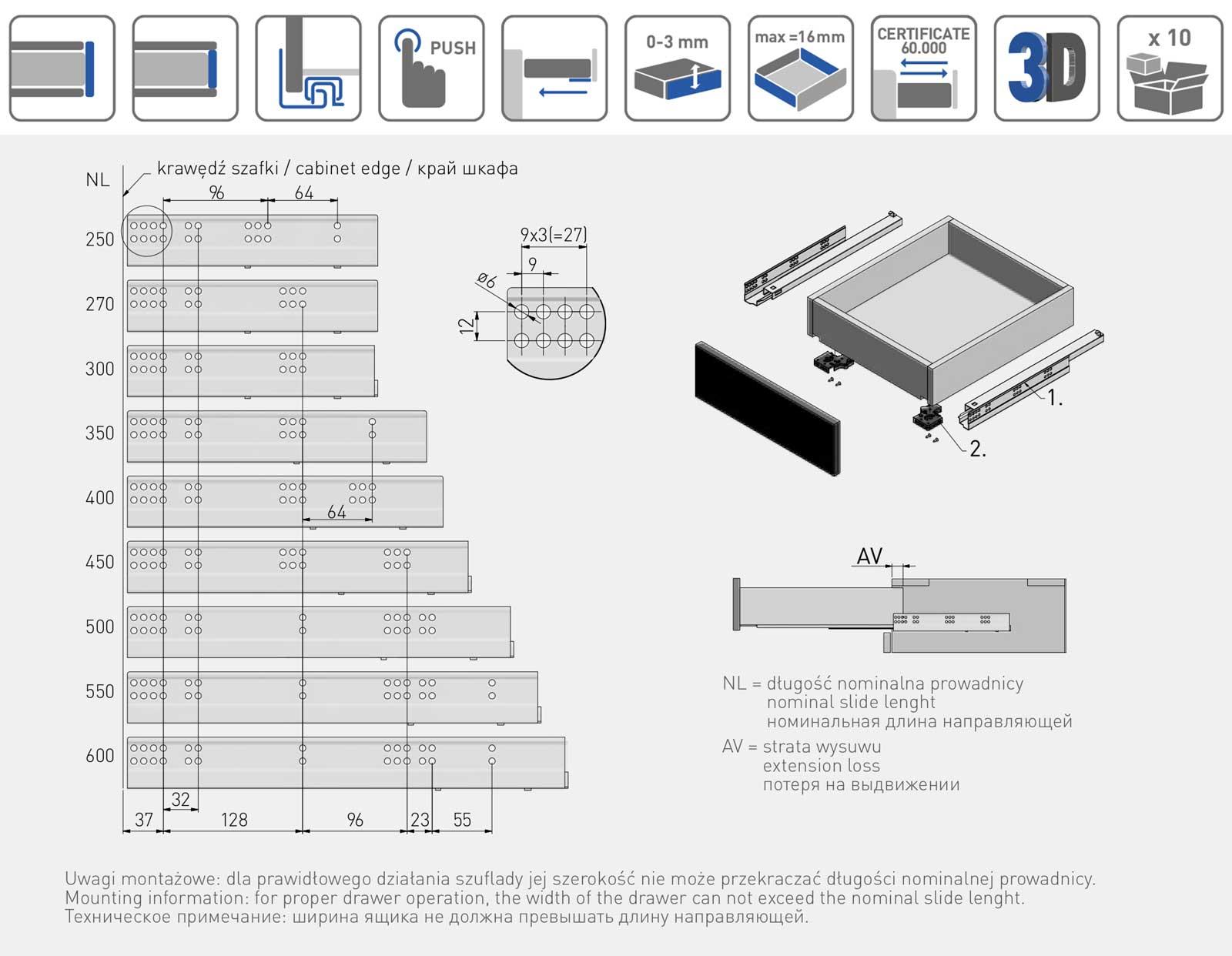 Тандемы полного выдвижения GTV Modern slide Tip-On