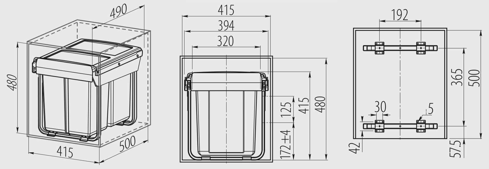 Ведро для мусора выдвижное GTV Practi Eco 2х20L