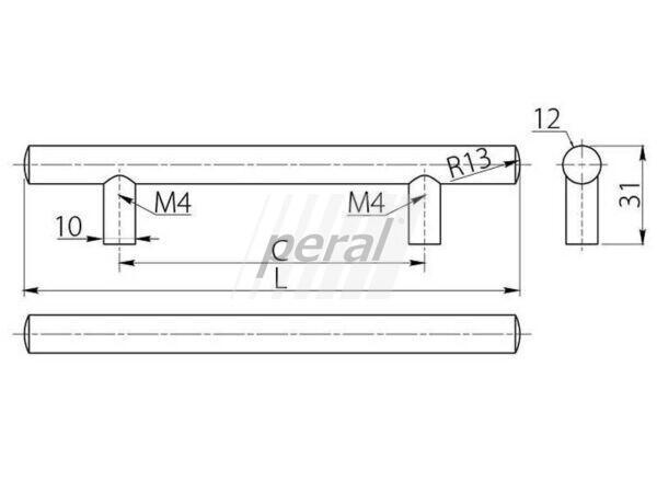 Ручка рейлинговая GTV RELING RS, 160 мм хром